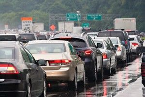 Numerous Cars Bumper to Bumper on Highway   Automatic Emergency Braking Technology Reduces Rear-End Collisions 39%