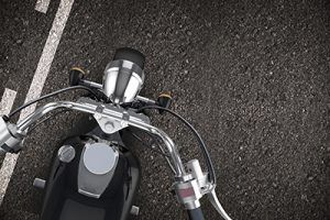 Motorcycle on the Road. Right Lane Driving. No Passing Zone. Motorcycle From Top Illustration.