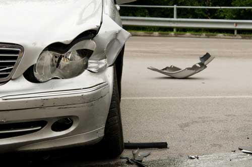 silver car from the front after a minor fender bender | Englewood Car Accident Attorney